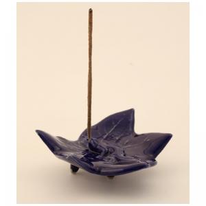 Räucherstäbchenhalter, Ton, Ahornblatt blau, RSH10