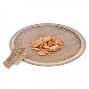 Räuchersieb Edelstahl, 8,5 cm, flach mit Bürste