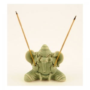 Räucherstäbchenhalter, Ton, Elefant grün, RSH02
